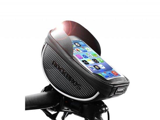 Originele waterdichte fiets stuurtas met telefoonhouder en opbergvak - Fiets stuur smartphone tas - Telefoonhouder - Mobielhouder fiets - Fietstas telefoon - Fietstas mobiel - Waterdichte fietstas - Geschikt voor o.a. iPhone X, 8, 7