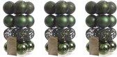 48x Donkergroene kunststof kerstballen 6 cm - Mix - Onbreekbare plastic kerstballen - Kerstboomversiering donkergroen