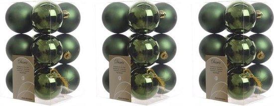 36x Donkergroene kunststof kerstballen 6 cm - Mat/glans - Onbreekbare plastic kerstballen - Kerstboomversiering donkergroen
