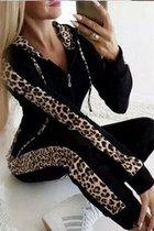 Homewear 2-delig leopard zwart XL