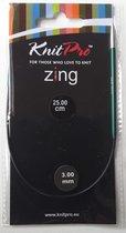KnitPro Zing Rondbreinaalden 3.00mm en 25.00cm (Let op zeer kleine naalden voor sokken)