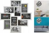 Fotolijst Collage - 10 Foto Grote Multi Wissellijst - Muur Fotocollage Lijst - Collagelijst 10x15 - Wit