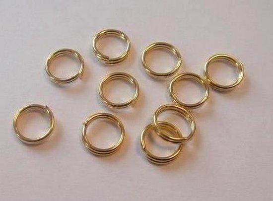 Dubbel splitring goudkleur 6 milimeter 10 Stuks