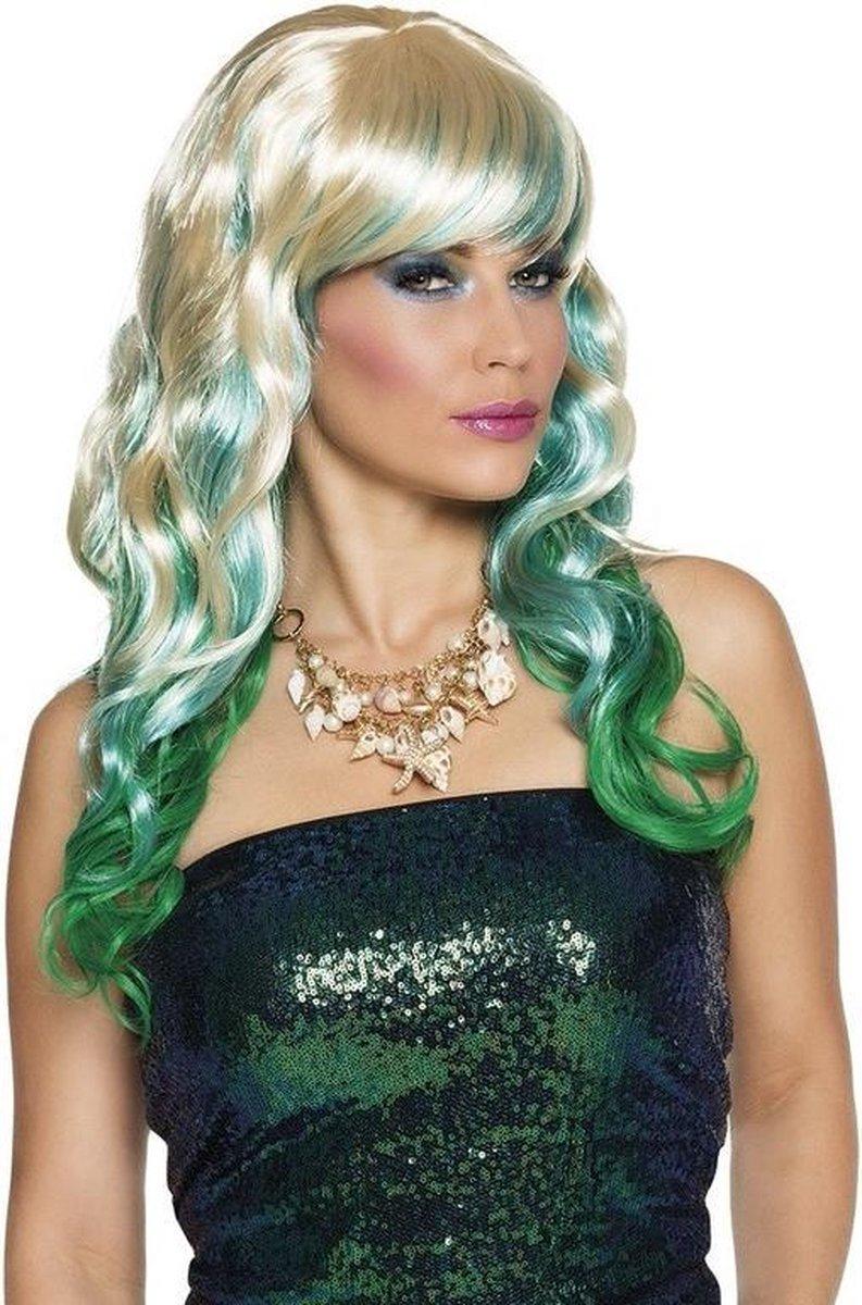 Driekleurige damespruik met krullen - groen / blauw / blond - pruik