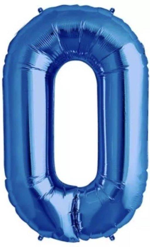 Folie Ballon Cijfer 0 Blauw 100cm - leeg