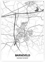Barneveld plattegrond - A4 poster - Zwart witte stijl