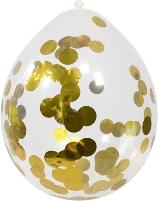 12x Transparante ballon gouden confetti 30 cm - feestballonnen