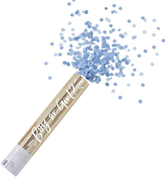Confetti Shooter Gender Reveal Blauw - 28 cm