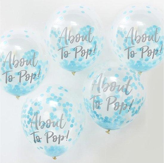 Confettiballonnen - 'About to Pop!' Blauw - 5 stuks