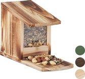 relaxdays eekhoorn voederhuisje - voederhuis - voederkast - voederbak - hout Vlammen