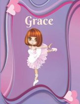 Grace: Draw & Write Notebook Personalized with Name for Girls who Love Ballet Dancing / With Picture Space and dashed mid-lin