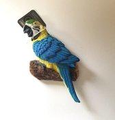 Beeldje papegaai Blauwgele Ara 14 cm voor wand bevestiging