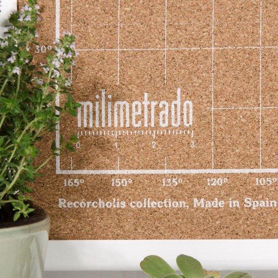 Milimetrado - Wereldkaart Prikbord - Kurk met Wit Frame - Wit/Wit - 70x50 cm