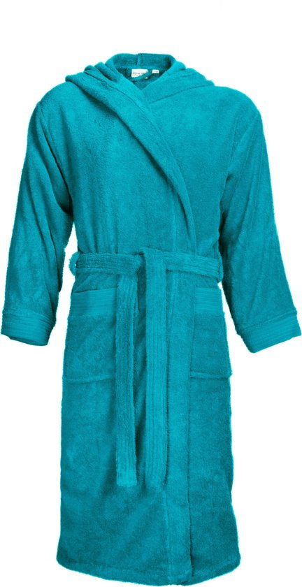 The One Badstoffen Badjas met capuchon Turquoise S/M - The One towelling