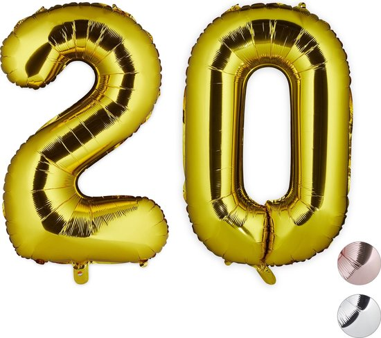 relaxdays 1x folie ballon 20 - cijferballon - verjaardag - decoratie - XXL - goud - nummer