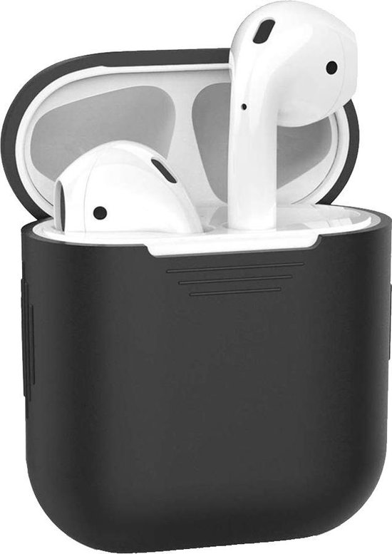Afbeelding van Hoes voor Apple AirPods Hoesje Siliconen Case Cover - Zwart