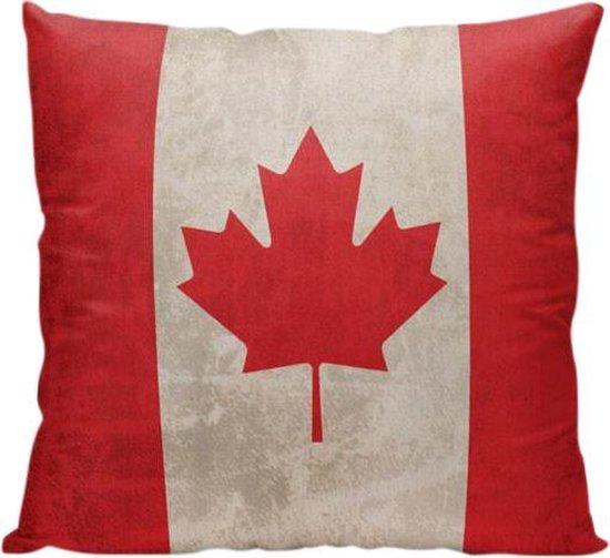 Canadese vlag (Canada) - Sierkussen - 40 x 40 cm - Reis Quote - Maple Leaf - Reizen / Vakantie - Reisliefhebbers - Voor op de bank/bed