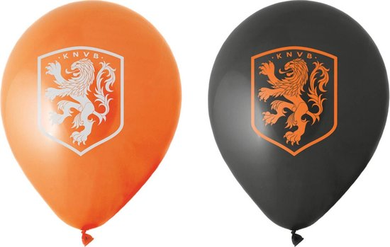 Nederland Ballonnen Knvb Zwart/oranje 8 Stuks