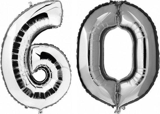 60 jaar zilveren folie ballonnen 88 cm leeftijd/cijfer - Leeftijdsartikelen 60e verjaardag versiering - Heliumballonnen