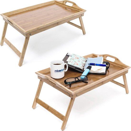 relaxdays 2x bedtafel bamboe - inklapbare poten - beddienblad - bed tafeltje - dienblad