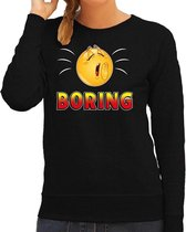 Funny emoticon sweater Boring zwart voor dames -  Fun / cadeau trui 2XL