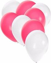 30x ballonnen wit en roze - 27 cm - witte / roze versiering