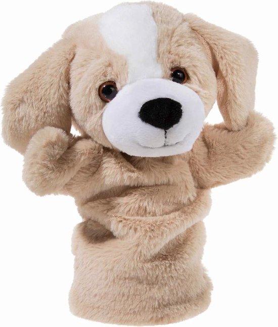 Pluche beige honden handpop knuffel 25 cm - Hondjes dieren knuffels - Poppentheater speelgoed kinderen