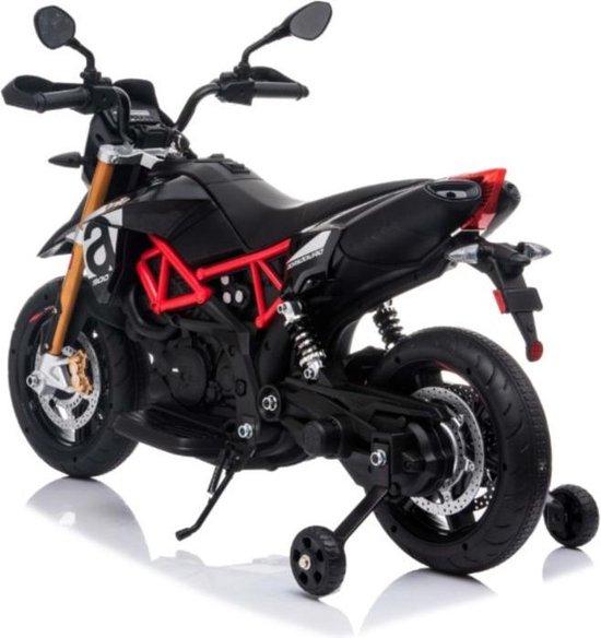Kinder motor Kinder scooter Aprilia Dorsoduro 900, 12V motor zwart/rood, leder