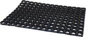 2x Deurmatten rubber zwart 60 x 40 x 2.3 cm - buitenmatten