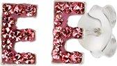 Lucardi Zilveren oorbellen Initialen E - Meisjes - Roze kristal