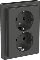 Dubbel stopcontact - Inbouw - Randaarde - 2V - Verticaal - Beveiliging - Antraciet - D-Life - Schneider Electric - MTN2420-6534