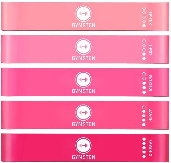 Gymston Weerstandsbanden Set - 5 stuks - Incl. Draagtas en E-Book & Handleiding – Premium Vrouwen Set - Elastiek Fitness band – Fitness banden - Fitness Elastieken, Resistance  Band Set , Gymnastiekband , Trainingsbanden Limited Edition