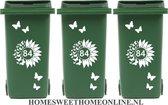 Voordeelset Container Sticker zonnebloem / vlinders met huisnummer 15 delig   Kliko   Rosami