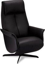 Exo relaxstoel fauteuill met verstelbare rugleuning en voetensteun, draaivoet, zwart PU kunstleer, zwart metaal.