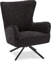 Bobby fauteuil met draaivoet zwart, metaal zwart.