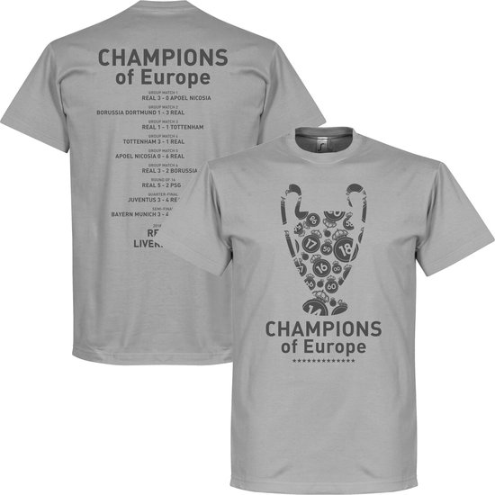 Real Madrid Champions League 2018 Winners Trophy T-Shirt - Grijs - L