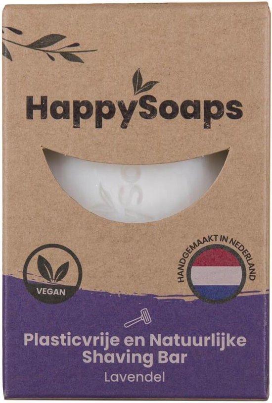 Happy Soaps -Natuurlijke - Scheerzeep - Lavendel - Plasticvrij - Vegan - Dierproefvrij - 80 gram