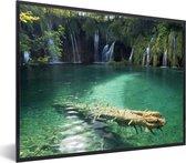 Foto in lijst - Groene natuur van het Nationaal park Plitvicemeren fotolijst zwart 40x30 cm - Poster in lijst (Wanddecoratie woonkamer / slaapkamer)