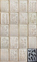 21 in 1 Kaart DIY Album Masking Spray Geschilderd Template Tekening Stencils Schilderen Scrapbooking Card