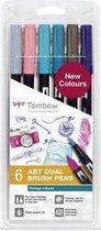 Tombow Brush pen ABT Dual Brush Pen Set off 6 Vintage Colours