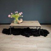 Urban Living - Salontafel met Stalen Frame en Houten Blad - Strak Industrieel Design - Rechthoek