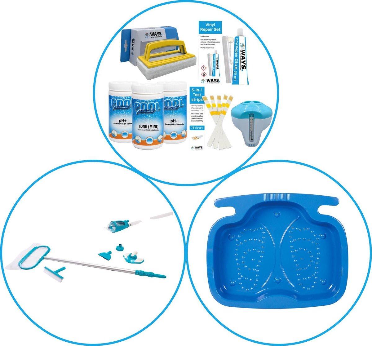 Zwembad Accessoirepakket 3-delig - WAYS Onderhoudspakket & Onderhoudsset Deluxe & Voetenbad