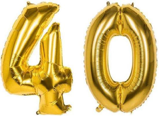 40 Jaar Folie Ballonnen Goud - Happy Birthday - Foil Balloon - Versiering - Verjaardag - Man / Vrouw - Feest - Inclusief Opblaas Stokje & Clip - XL - 82 cm