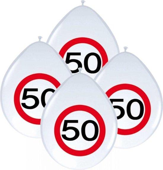 32x stuks Ballonnen 50 jaar verkeersbord feestartikelen/versiering verkeersbord