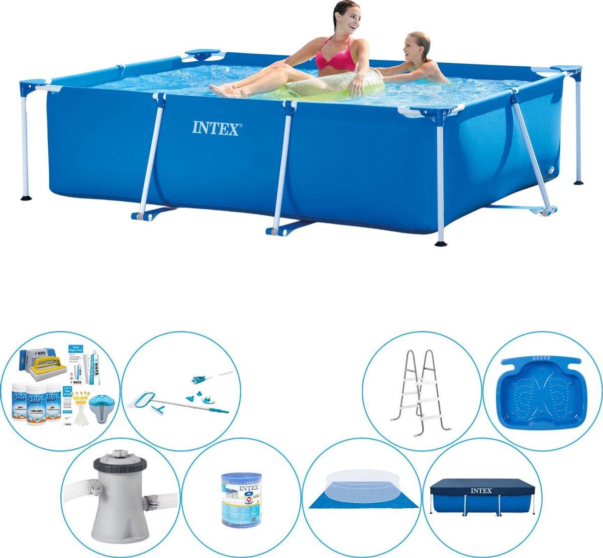 Intex Frame Pool Rechthoekig 220x150x60 cm - Alles in 1 Zwembad Pakket
