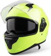 Vinz Kennet Integraalhelm met Zonnevizier / Motorhelm / Scooter helm / Brommerhelm – Fluor Geel