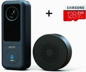 Wi-Fi deurbel ID8100 + 128GB Micro SD-kaart | Video deurbel met opslagmogelijkheid | Slimme bel | Wi-Fi Camera | Geen abonnement nodig | ONVIF ondersteuning