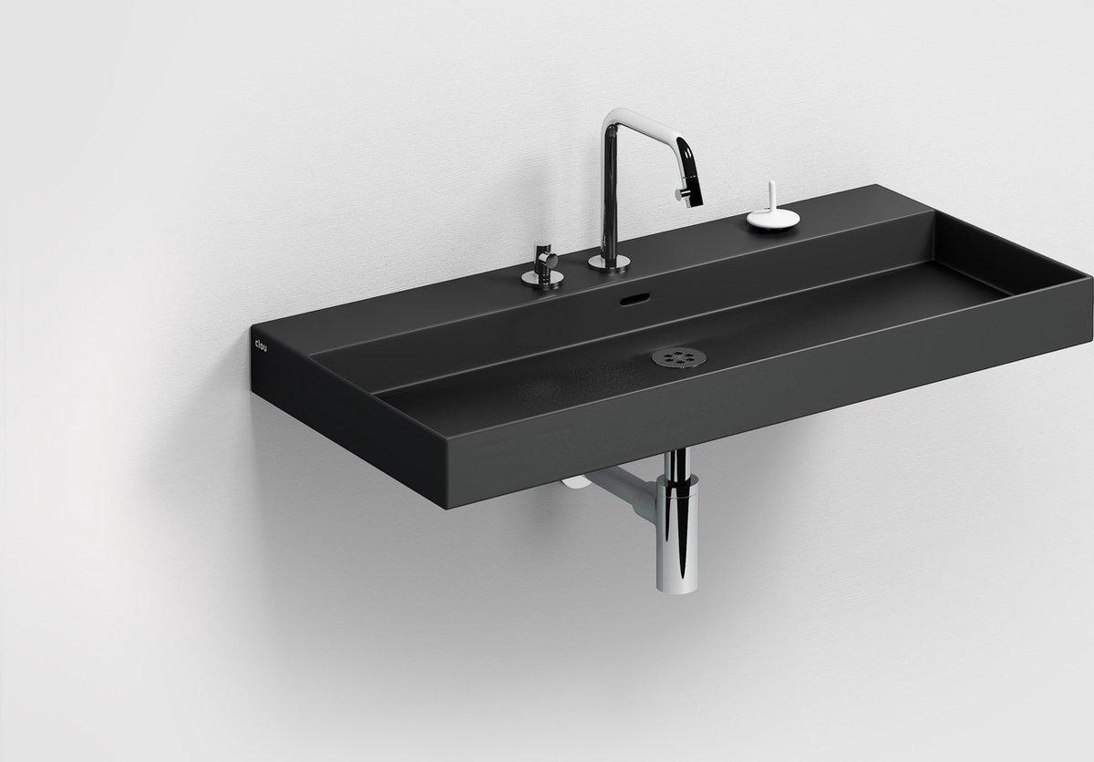 Clou New Wash Me Wastafel Zonder Plug 90x42x10,5 cm Mat Zwart