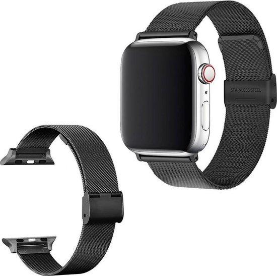 Luxe Milanese Loop Armband Voor Apple Watch Series 1/2/3/4/5/6/SE 42/44 mm Horloge Bandje - Metalen iWatch Milanees Watchband Polsband - Stainless Steel Mesh Watch Band - Horlogeband - Veilige Vergrendelbare Sluiting - Zwart