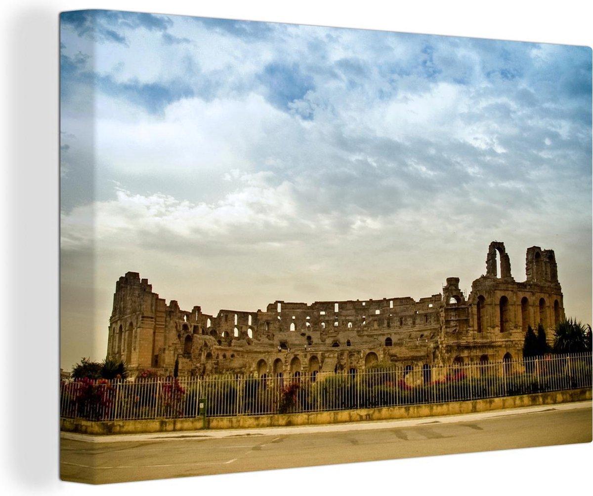 De grote amfitheater van El Djem in Tunesi  Canvas 90x60 cm - Foto print op Canvas schilderij (Wanddecoratie woonkamer / slaapkamer)